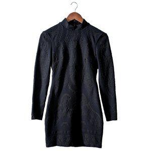 BEBE Bodycon Dress Black Stretch Long Sleeve